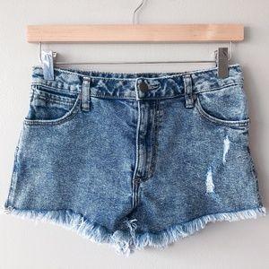 WRANGLER High rise cut off jean denim shorts